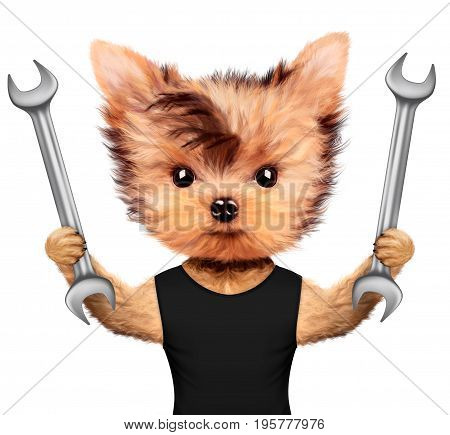 Funny dog with two wrenches isolated on white background. Constructor and handyman concept. 3D illustration