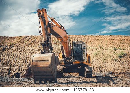 Industrial Heavy Duty Excavator On Highway Construction Site, Bucket Details, Dirt And Gravel All Ar