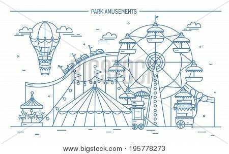 Nice horizontal banner of amusement park. Circus, ferris wheel, attractions, side view with aerostat in air. Monochrome line art vector illustration