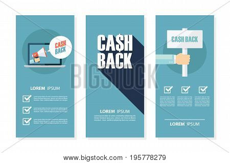 Money cash back flyers set for business, commerce, promotion and advertising. Flat design vector illustration.