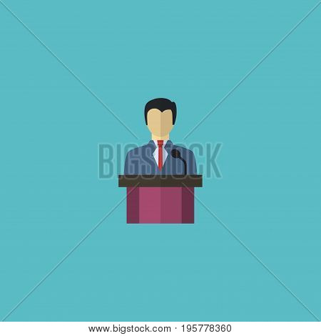 Flat Icon Leader Element. Vector Illustration Of Flat Icon Businessman  Isolated On Clean Background