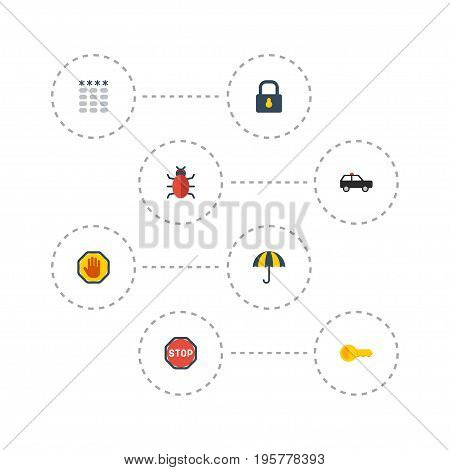 Flat Icons Clue, Parasol, Padlock And Other Vector Elements
