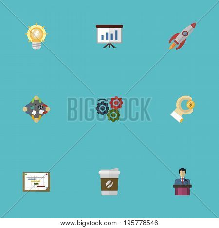 Flat Icons Gear, Discussion, Schedule And Other Vector Elements