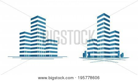 Modern city, skyscraper logo. Construction, building icon or label. Vector illustration isolated on white background
