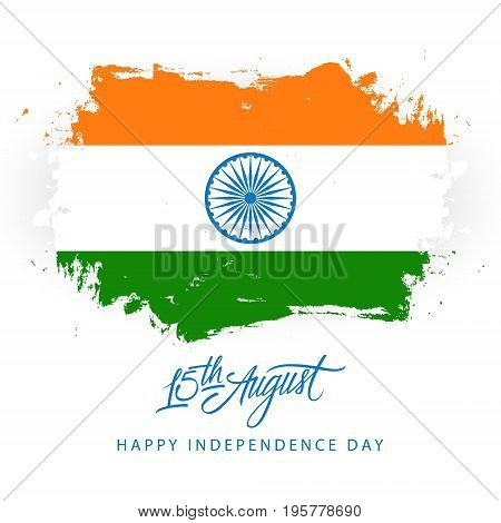 India Happy Independence Day, 15 august greeting card with brush stroke in indian national flag colors. Vector illustration.