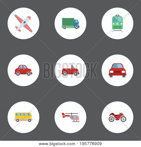 Flat Icons Omnibus, Lorry, Automobile And Other Vector Elements