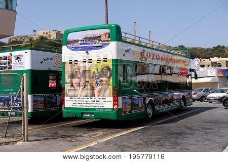 ISLAND OF MALTA, EUROPE - NOVEMBER 15, 2015 . Road sightseeing bus mediterranean cliffs in the Island of Malta.