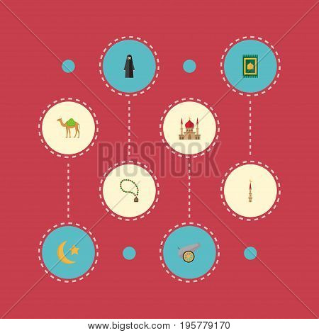 Flat Icons Dromedary, Muslim Woman, New Lunar And Other Vector Elements