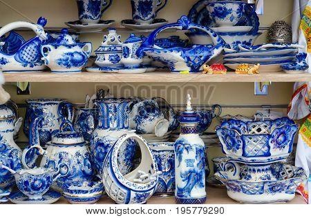 Sale of souvenir tableware Gzhel on street St. Petersburg Russia