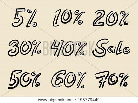 Seasonal sale doodle inscriptions. Handwritten lettering of letters percent. Vector hand drawn ink illustration