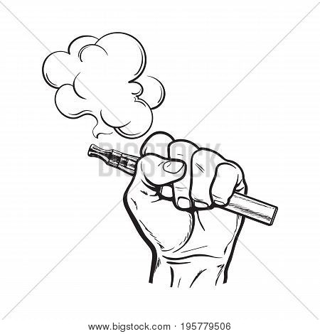 Male hand holding e-cigarette, electronic cigarette, vapor with smoke coming out, black and white sketch vector illustration isolated on background.