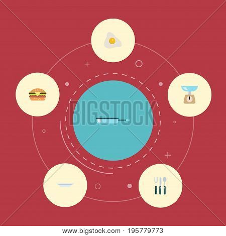 Flat Icons Silverware, Kitchen Measurement, Omelette And Other Vector Elements