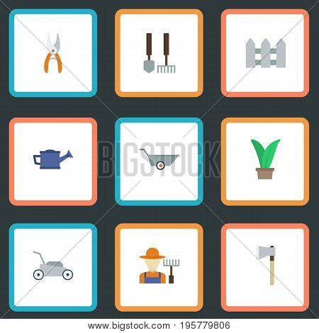 Flat Icons Pruner, Axe, Grower And Other Vector Elements
