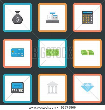 Flat Icons Money, Jewel Gem, Accounting And Other Vector Elements