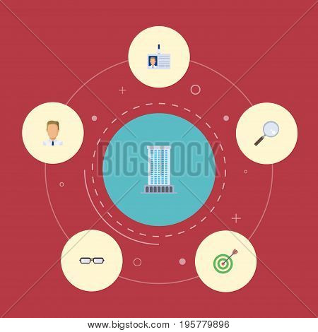Flat Icons Magnifier, Employee, Spectacles And Other Vector Elements