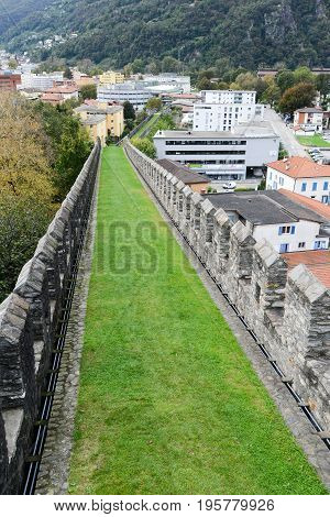 The Walls Of Fort Castelgrande At Bellinzona On The Swiss Alps