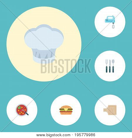 Flat Icons Breadboard, Chef Hat, Fast Food And Other Vector Elements