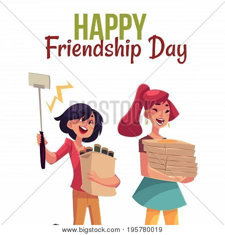Happy friendship day greeting card design with friends hurrying to a party, fetching beer, pizza, making selfie, cartoon style vector illustration isolated on white background.