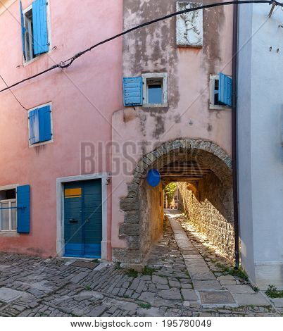 Arch in the typical alley of Groznjan Istria. Croatia