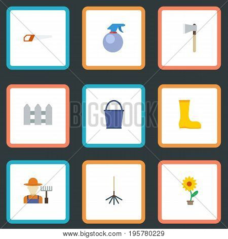 Flat Icons Flowerpot, Axe, Rake And Other Vector Elements