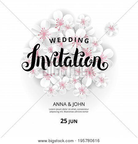 White flowers Invitation. Wedding banner paper invitation for pink background, anniversary marriage, engagement, birthday, Baby shower. Shop header, web banner. For flyer, invite greeting card