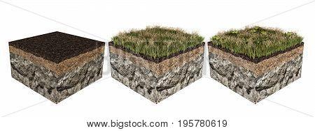 3d illustration of soil slices isolated on white background