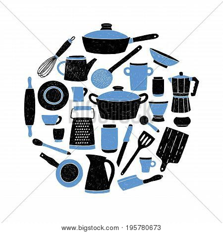 Kitchenware set on white background. Round composition with stylized hand drawn doodle dishes vector illustration
