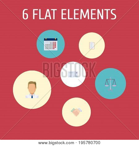 Flat Icons Employee, Task List, Libra And Other Vector Elements