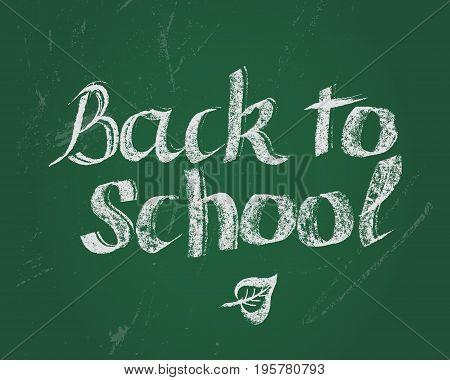 Back to school. Hand drawn lettering by chalk on green blackboard. Hand drawn design elements.