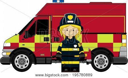 Female Firefighter & Truck