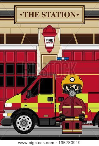Fireman & Truck Scene