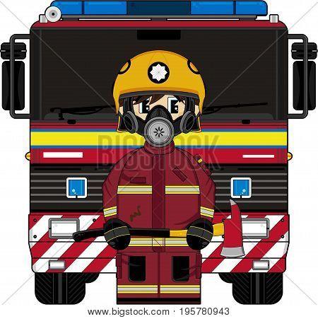 Cute Cartoon British Fireman and Fire Truck