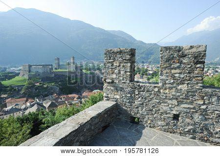 Bellinzona, Switzerland - 3 August 2015: Castle of Castelgrande view from Montebello at Bellinzona on the Swiss alps