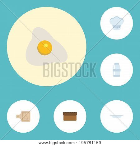 Flat Icons Loaf, Dish, Chef Hat And Other Vector Elements