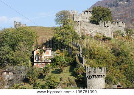 Bellinzona, Switzerland - 3 August 2015: Castle of Montebello at Bellinzona on the Swiss alps