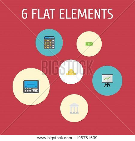 Flat Icons Bank, Ingot, Atm And Other Vector Elements