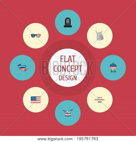 Flat Icons Identity, Musical Instrument, Holiday And Other Vector Elements