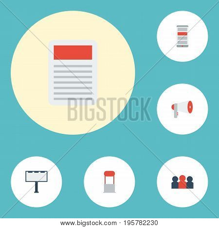 Flat Icons Application, Placard, Megaphone And Other Vector Elements