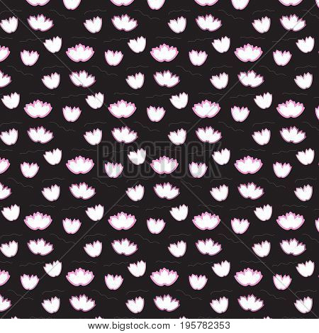 soft pink offset flower floating pattern on black background vector illustration image