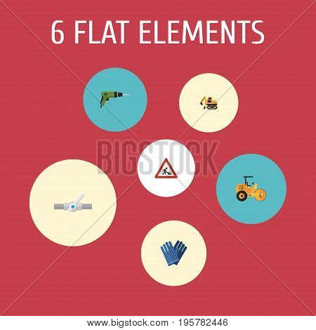 Flat Icons Tractor, Mitten, Caution And Other Vector Elements