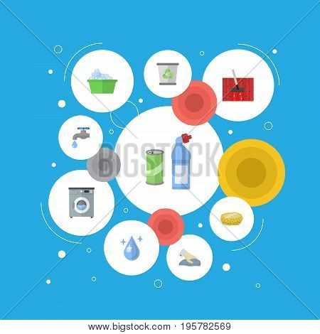 Flat Icons Laundry, Carpet Vacuuming, Means For Cleaning And Other Vector Elements
