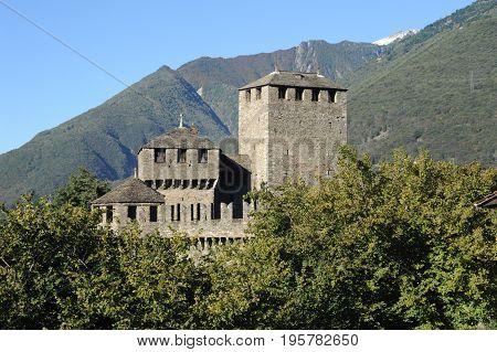 Bellinzona, Switzerland - 29 May 2014: Castle of Montebello at Bellinzona on the Swiss alps