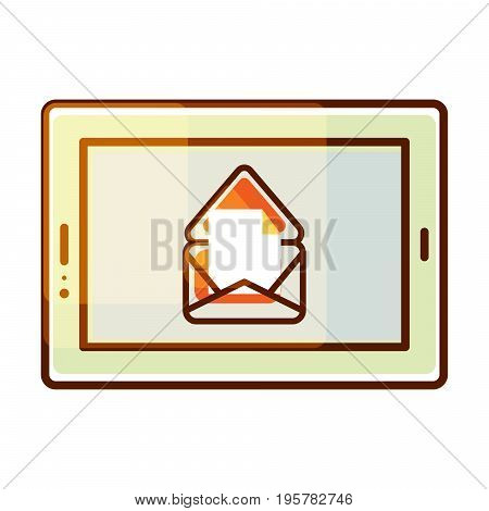 Tablet pc vector icon with e-mail message notification. Gradient color icon portable pad device.