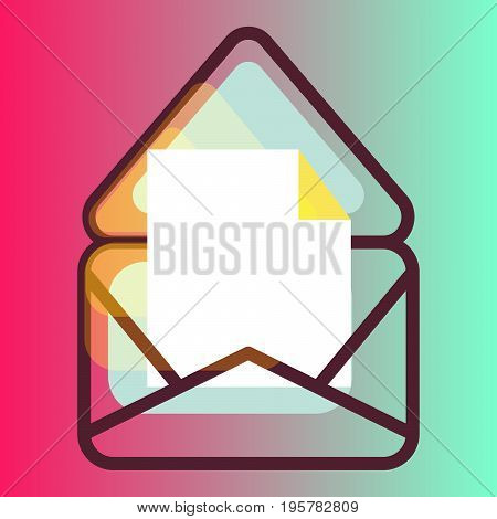 E-mail message gradient vector icon. New document notification on pink background.