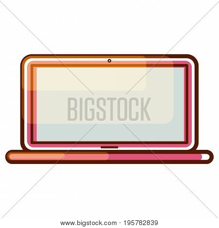 Laptop computer gradient icon vector. Modern pink notebook isolated symbol.