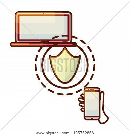 Secure connection laptop computer and smartphone device icon. Security guarantee gradient shield icon symbol.