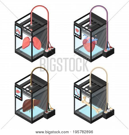 Creating artificial internal organs on three dimensional printer vector illustration isolated on white. Bioprinting concept, computer modeling of lungs, liver, heart and bone