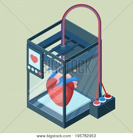Creating artificial heart on three dimensional printer vector illustration isolated on white. Bioprinting concept, computer modeling of internal organ