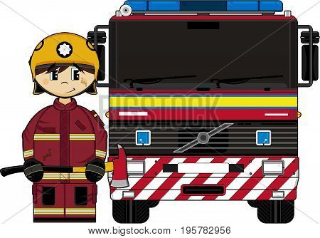 Uk Firefighter And Engine.eps