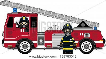 Cute Cartoon Firemen Firefighters and Fire Truck